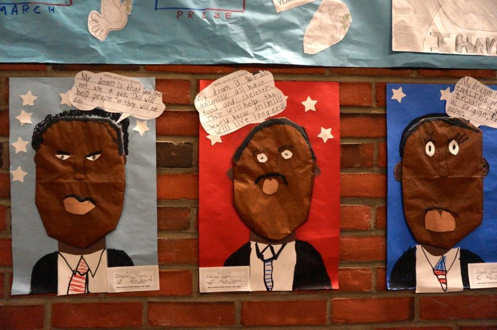 Student artwork fills the halls of West Hartford Town Hall on Martin Luther King Day. Photo credit: Ronni Newton