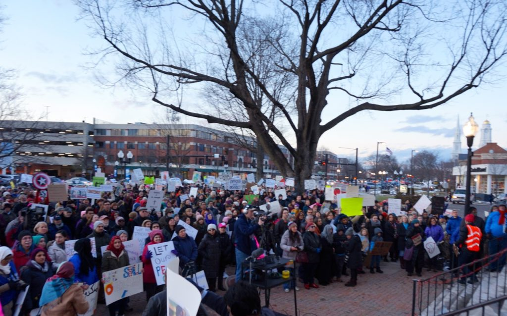 West Hartford Rally for Immigrant and Refugee Rights. Feb. 1, 2017. Photo credit: Ronni Newton