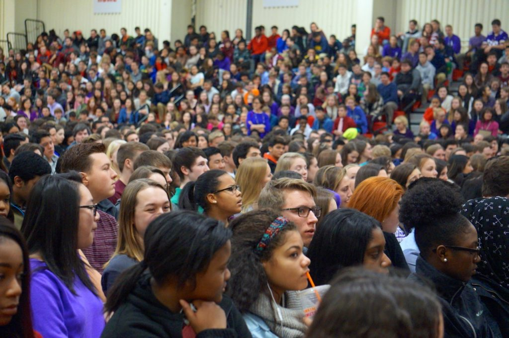 The entire Conard student body, faculty, and staff, attended a program by Chris Herren on Feb. 14, 2017. Photo credit: Ronni Newton