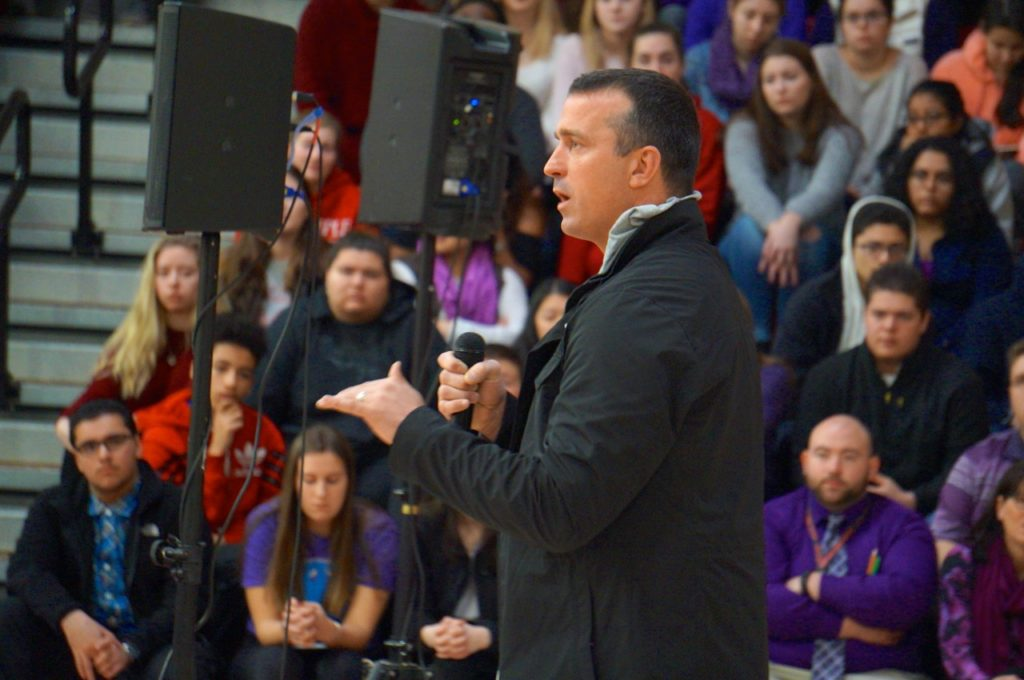Basketball legend Chris Herren shares his story of addiction and recovery to West Hartford students on Feb. 14, 2017, but the real message he said is about self-esteem and self-worth. Photo credit: Ronni Newton