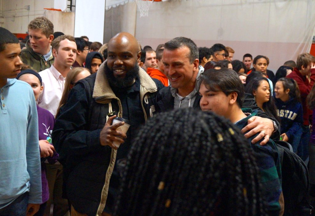 Chris Herren poses for photos with members of the Conard community after his Feb. 14, 2017, presentation. Photo credit: Ronni Newton