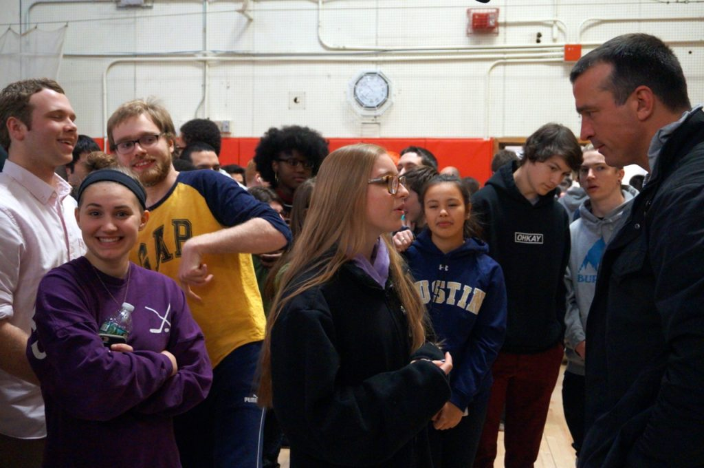 Chris Herren speaks with Conard students after his presentation on Feb. 14, 2017. Photo credit: Ronni Newton