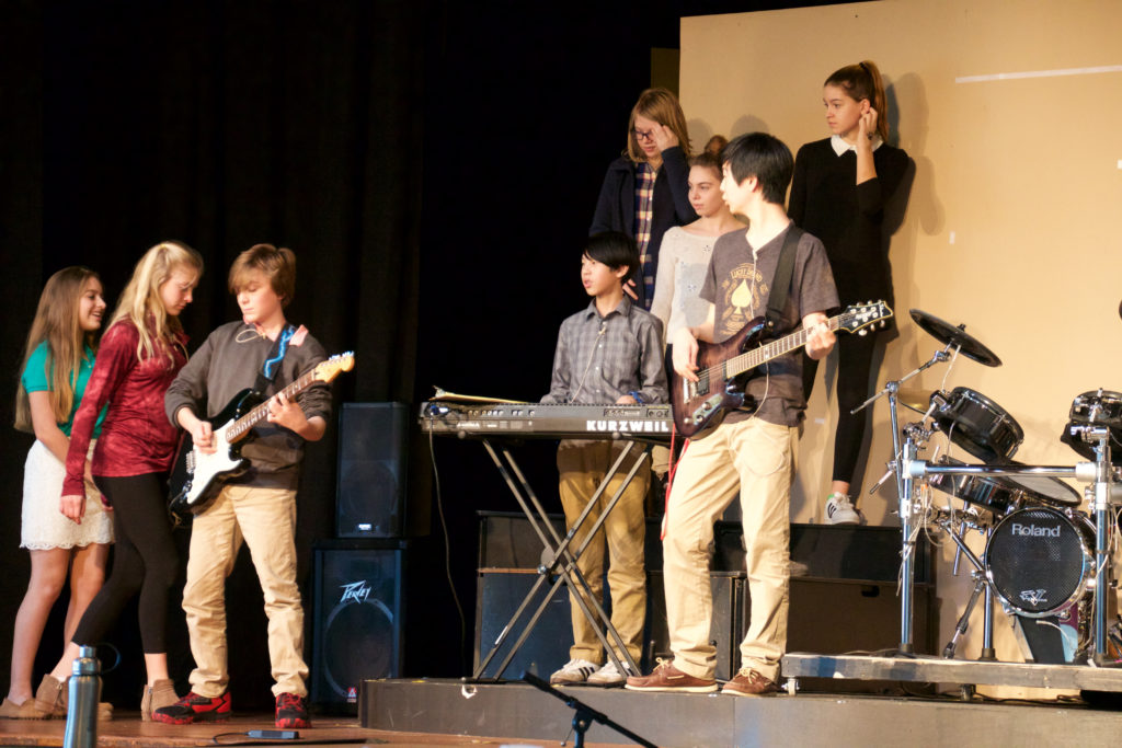 "Renbrook students rehearse for the youth production of ""The School of Rock""."" Submitted photo"
