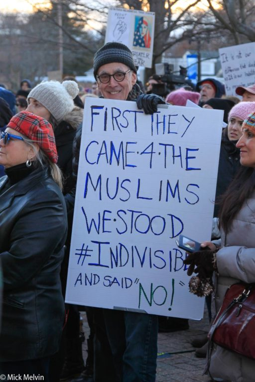 West Hartford Rally for Immigrant and Refugee Rights, February 1, 2017 at Town Hall. photo courtesy of Mick Melvin