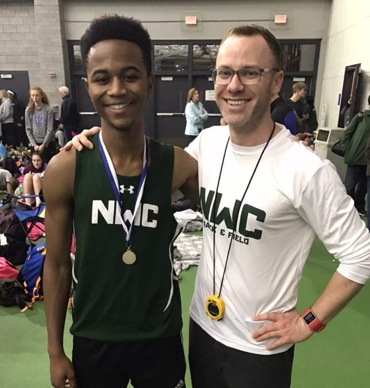55m high hurdle State Open champion Asa Guest (left) with NWC head coach Patrick Williamson. Courtesy photo