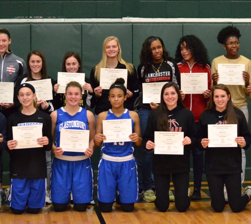 Amber Raisner of Hall (front row, far left) and  Delaney Connors (front row, far right) and Lena Proietti (front row, second from right) from Conard High School have been named to the CCC All-Conference team for girls basketball. Photo credit: Liz Proietti