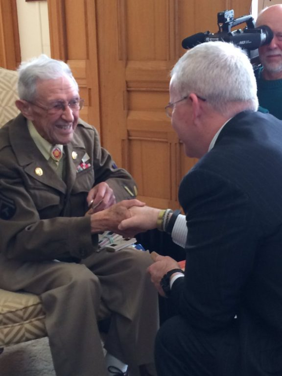 WWII veteran Benjamin Cooper with Department of Veterans Affairs Commissioner Sean Connolly. Courtesy photo