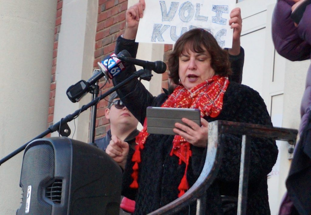 Rabbi Debra Cantor. West Hartford Rally for Immigrant and Refugee Rights. Feb. 1, 2017. Photo credit: Ronni Newton