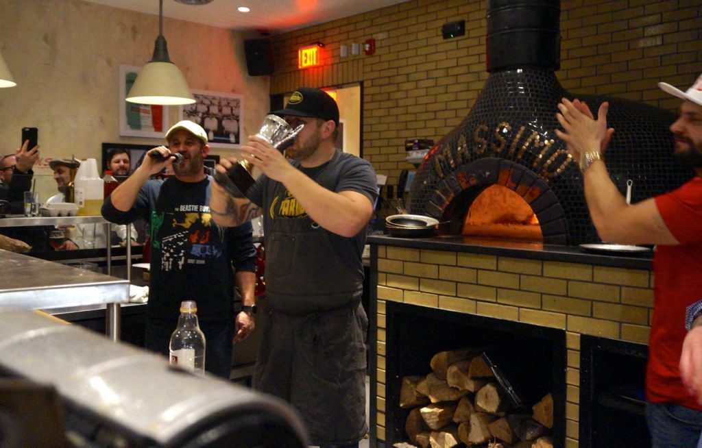 Eric Stagl of Yardbird & Co. with the trophy. 86'D: A Culinary Collision Round 1. Savoy Pizzeria & Craft Bar, West Hartford. Feb. 6, 2017. Photo credit: Ronni Newton