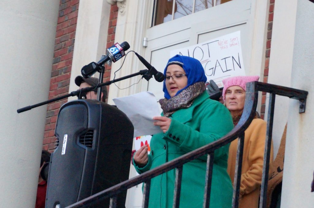 Samia Hussein. West Hartford Rally for Immigrant and Refugee Rights. Feb. 1, 2017. Photo credit: Ronni Newton