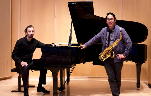 Prometheus Duo will perform at the Noah Webster Library in West Hartford. Submitted photo