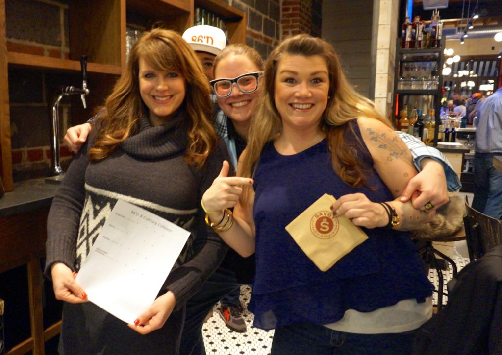 Judges (from left): Renee DiNino, Jenna Kijowski, and Jessica Bishop. Peeking out from the back is Jeannette Dardenne of Eat IN Connecticut. 86'D: A Culinary Collision Round 1. Savoy Pizzeria & Craft Bar, West Hartford. Feb. 6, 2017. Photo credit: Ronni Newton