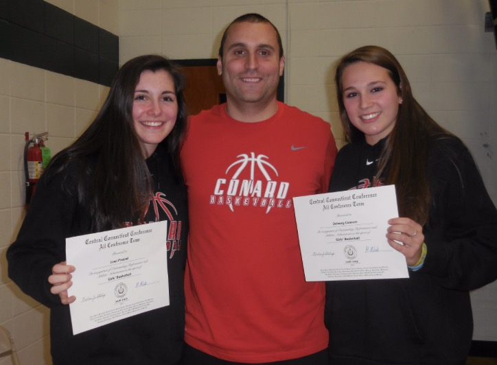 Lena Proietti (left) and Delaney Connors with Conard head coach Mike D'Angelo. Courtesy photo