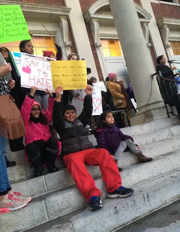 West Hartford Rally for Immigrant and Refugee Rights, February 1, 2017 at Town Hall. photo credit: Joy Taylor