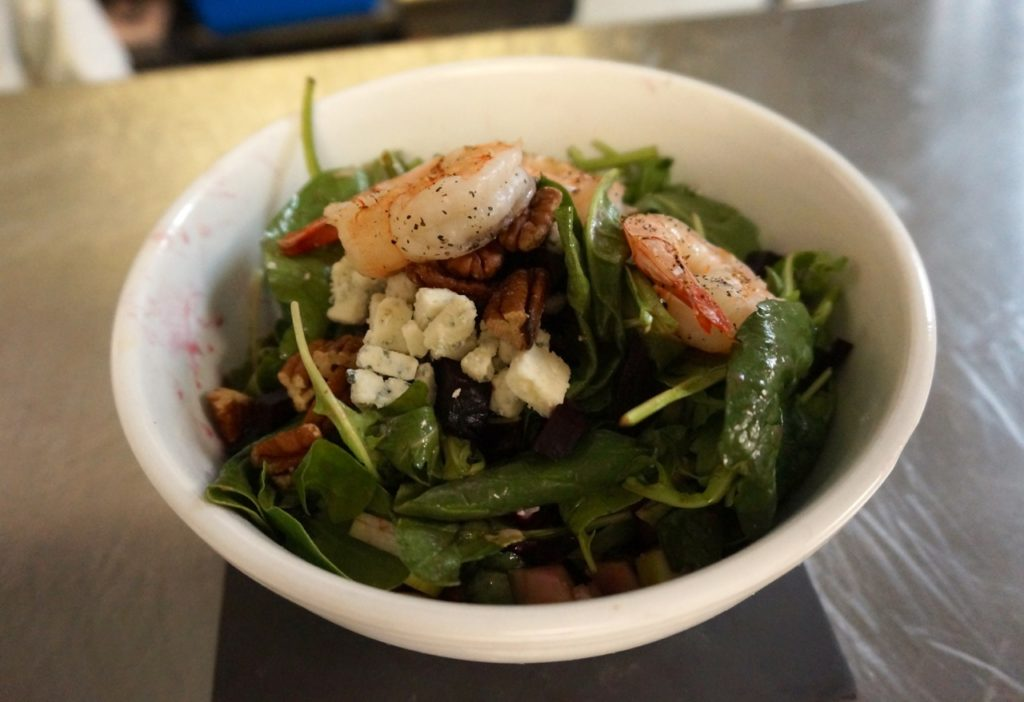 A roasted beet salad with grilled shrimp added. Photo credit: Ronni Newton