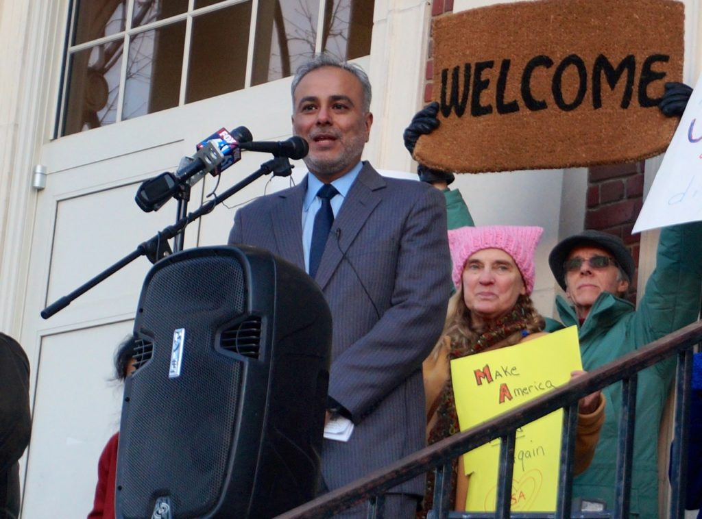 South Windsor Town Council member and former Mayor Saud Anwar. West Hartford Rally for Immigrant and Refugee Rights. Feb. 1, 2017. Photo credit: Ronni Newton