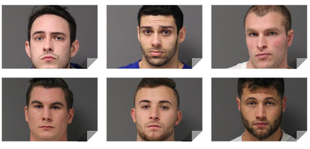 Six UConn students were arrested Friday on alcohol-related charges in connection with the October 2016 death of UConn sophomore and West Hartford resident Jeffny Pally. The students are (top row, from left): Patrick Callahan, Austin Custodio, Dominic Godi (bottom row, from left): Matthew Moll, Dylan Morose, and Jonathan Polansky. Photos courtesy of Connecticut State Police