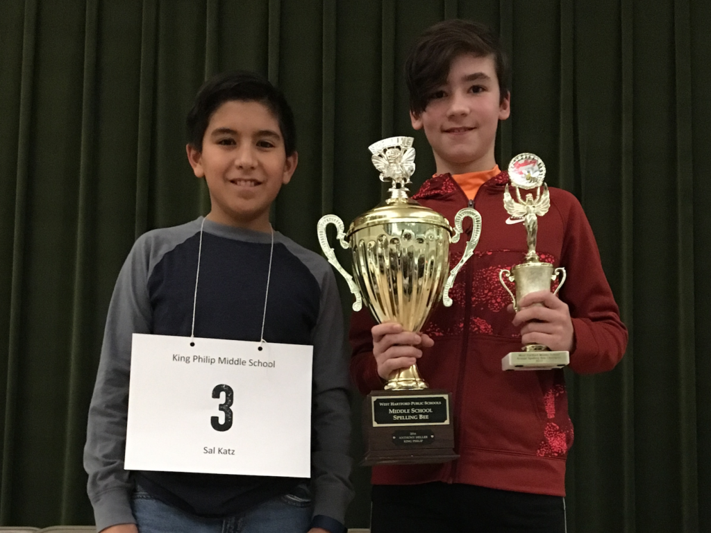 West Hartford Town-WIde Spelling Bee 1st place winner Anthony Heller (right) and 2nd place winner Sal Katz. Courtesy photo