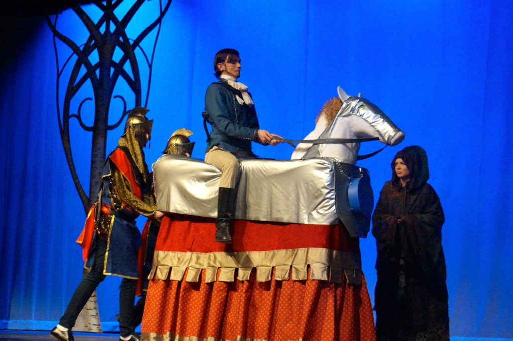 Prince Topher on his horse. Conard High School Musical Productions presents 'Cinderella.' Photo credit: Ronni Newton