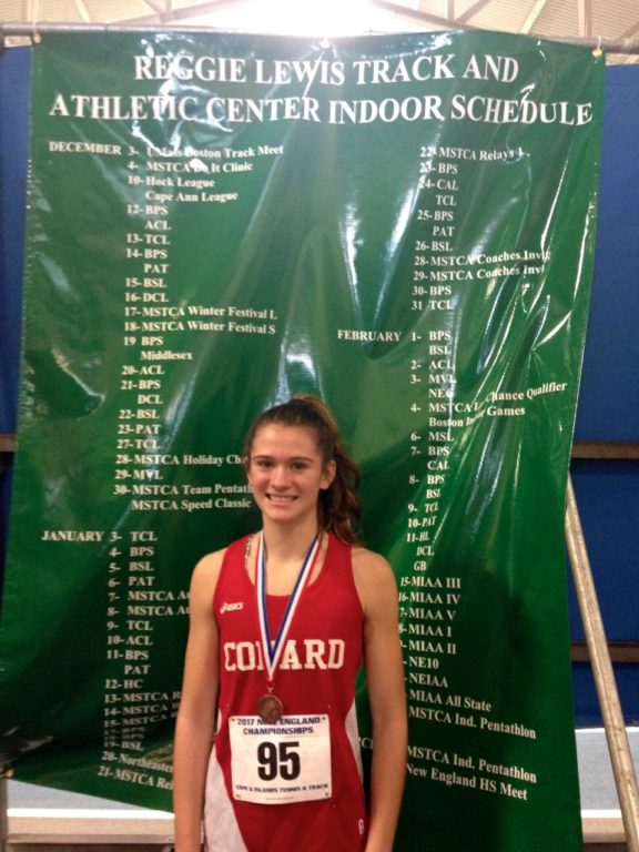 Libby McMahon after earning fifth place, and setting a new Conard record in the girls 300m at the New England Championship meet. Photo courtesy of Christine McMahon