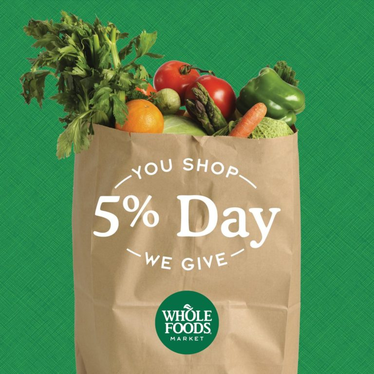 Whole Foods 5% Day. Twitter image