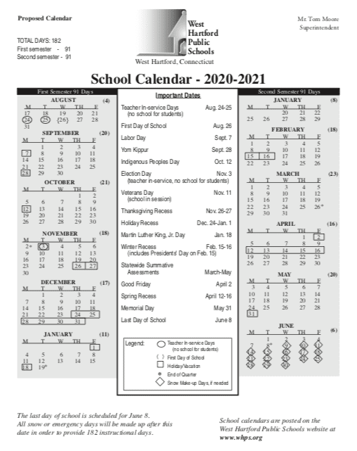 Uconn Fall 2020 Calendar West Hartford Board of Education to Consider Calendar Options for